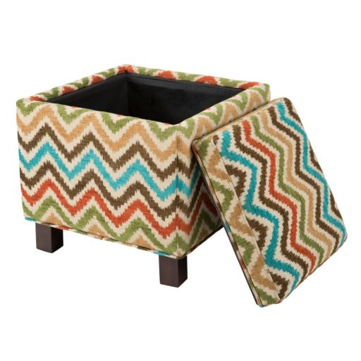 Madison Park Allison Chevron Storage Ottoman and Pillows Set
