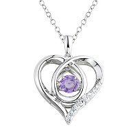 DiamonLuxe Amethyst & 1/5 Carat T.W. Simulated Diamond Sterling Silver Floating Stone Heart Pendant Necklace