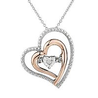 Two Hearts Forever One Diamond Accent Two Tone Sterling Silver Floating Heart Pendant Necklace