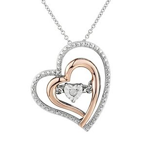 Two hearts forever one diamond accent 10k rose gold over silver sterling silver heart pendant necklace 3 sale aloadofball Images