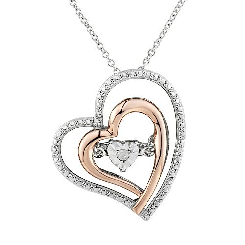 Hearts forever one diamond accent two tone sterling silver two hearts forever one diamond accent two tone sterling silver floating heart pendant necklace mozeypictures Image collections