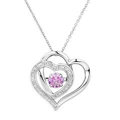 Two Hearts Forever OneLab-Created Pink Sapphire & Diamond Accent Floating Stone Heart Pendant