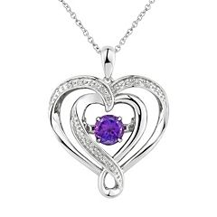 Two Hearts Forever One Amethyst & Diamond Accent Sterling Silver Floating Heart Pendant Necklace