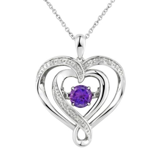 Two Hearts Forever OneAmethyst & Diamond Accent Sterling Silver Floating Heart Pendant Necklace