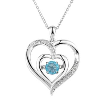 Two Hearts Forever One Blue Topaz & Diamond Accent Sterling Silver Floating Heart Pendant Necklace