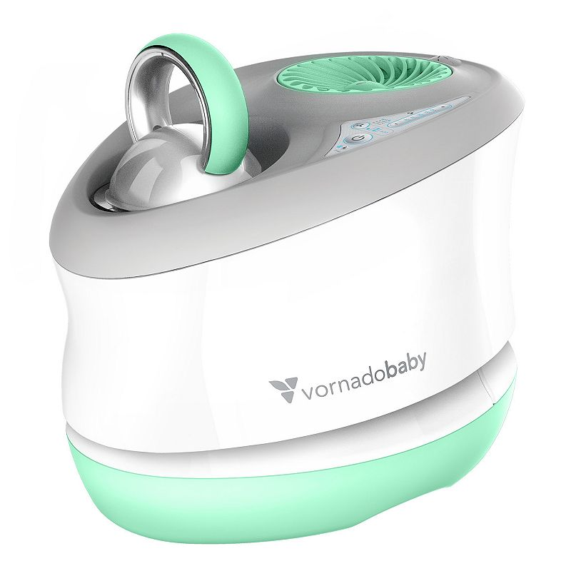 Vornado Baby Huey Nursery Evaporative Humidifier, White This Vornado Baby Huey humidifier provides gentle, evaporative humidification to help soften baby�s air. Watch the product video here. Gentle evaporative humidification creates no white dust and requires no heated water. Humidifies all the air using Vornado�s signature Vortex action, evenly distributing humidified air. 12 to 16-hour run time lends convenience. Two airflow settings allow for perfect positioning. Lockable, backlit controls make it easy to see at night. Automatic humidity control offers hassle-free use. Removable grill is easy to clean. WHAT'S INCLUDED Wick filter PRODUCT CARE Manufacturer's 5-year limited warrantyFor warranty information please click here Wipe clean 11.75''H x 9.8''W x 13.2''D Weight: 6.1 lbs. 32-oz. capacity Model no. HU1-0044-59 Size: One Size. Gender: unisex. Age Group: kids.