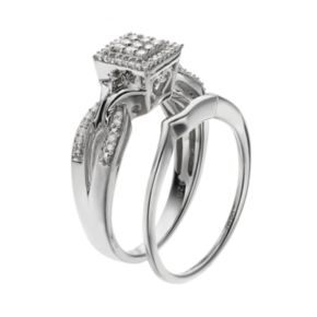 Always Yours Sterling Silver 1/4 Carat T.W. Diamond Square Halo Engagement Ring Set