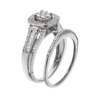 Always Yours Sterling Silver 1/2 Carat T.W. Diamond Square Halo Engagement Ring Set