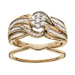 Always Yours 18k Gold Over Silver 1/2 Carat T.W. Diamond Halo Engagement Ring Set