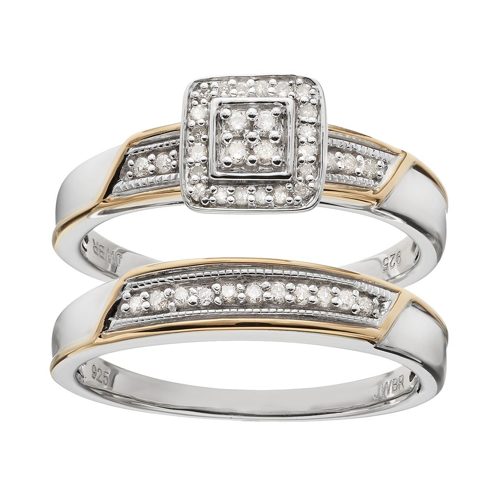 Always Yours Two Tone Sterling Silver 1/5 Carat T.W. Diamond Square Halo Engagement Ring Set