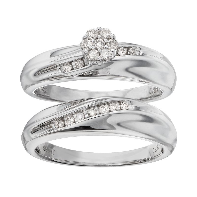 Always Yours Diamond Halo Engagement Ring Set in Sterling Silver (1/5 Carat T.W.)