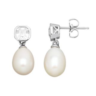 Freshwater by HONORA Freshwater Cultured Pearl & Cubic Zirconia Sterling Silver Drop Earrings - Made with Swarovski Cubic Zirconia