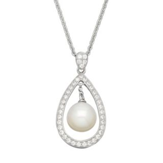 Freshwater by HONORA Freshwater Cultured Pearl & Cubic Zirconia Sterling Silver Teardrop Pendant Necklace - Made with Swarovski Cubic Zirconia