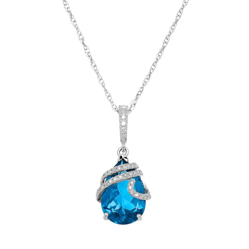 Blue Topaz & 1/10 Carat T.W. Diamond 10k White Gold Pendant Necklace, Women's, Size: 18 -  Macy's