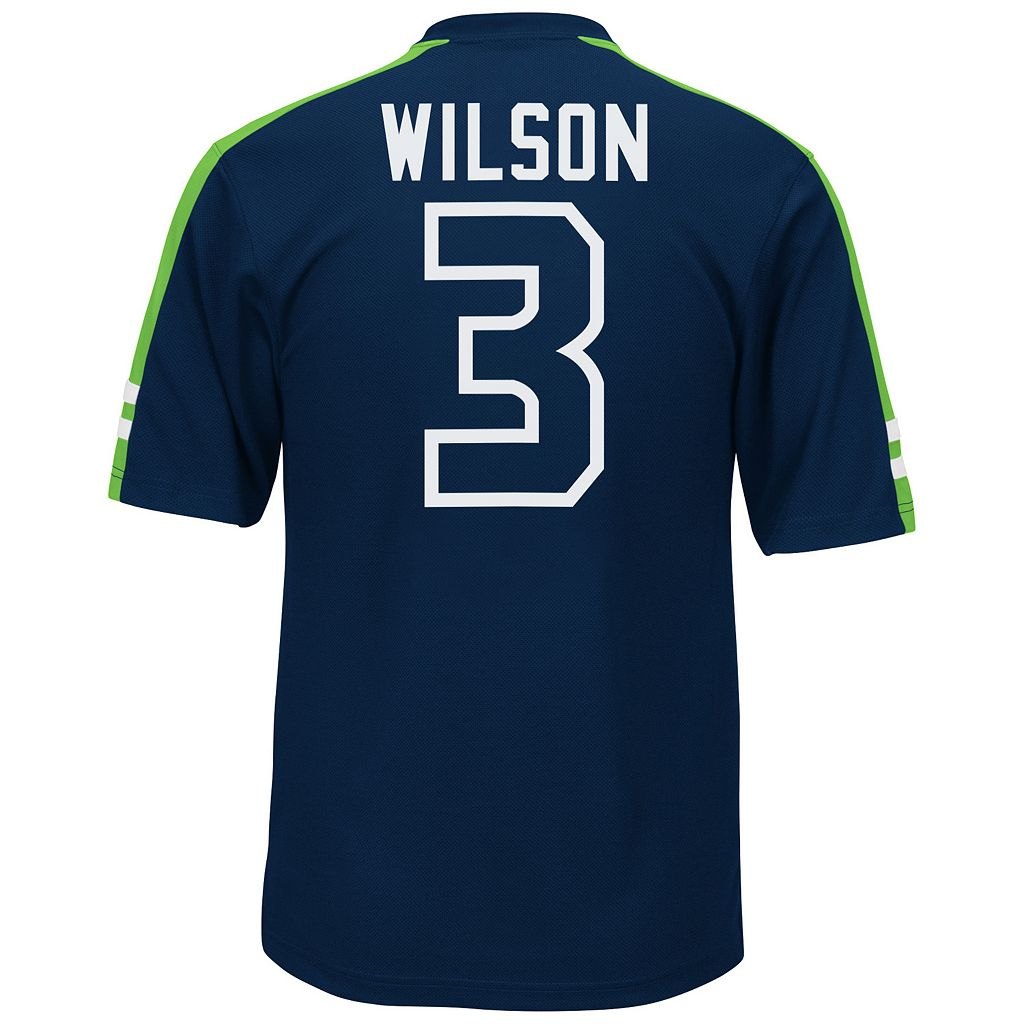 Men's Majestic Seattle Seahawks Russell Wilson Hashmark Player Top