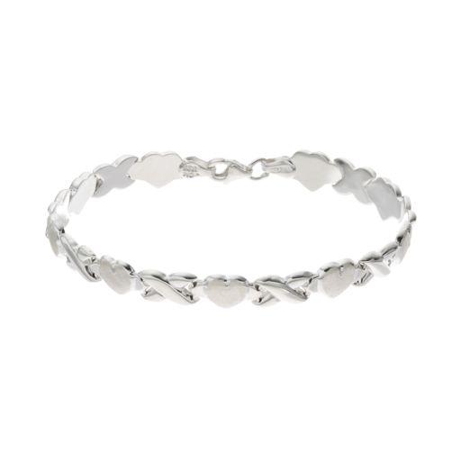 Silver Classics Sterling Silver Heart Link Bracelet