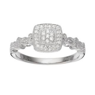 Always Yours Sterling Silver 1/10 Carat T.W. Diamond Cluster Halo Engagement Ring