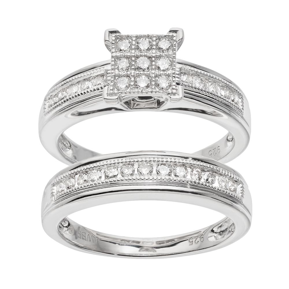 2 Carat Tw Diamond Square Engagement Ring  Set