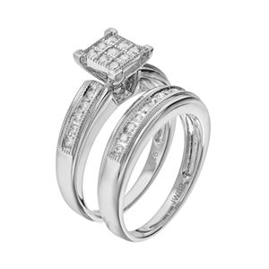 Always Yours Sterling Silver 1/2 Carat T.W. Diamond Square Engagement Ring Set
