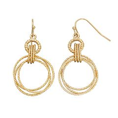 Textured Hoop Drop Earrings