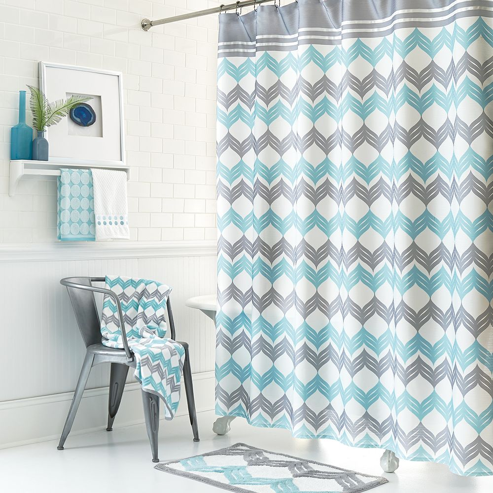 Aqua Chevron Shower Curtain -