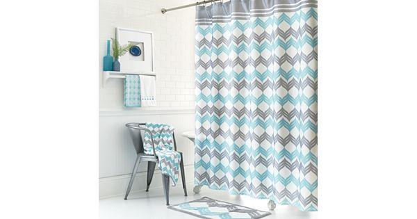 Mondrian Chevron Fabric Shower Curtain