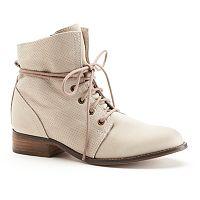 ShoeMint Alexandra Women's Leather Combat Ankle Boots