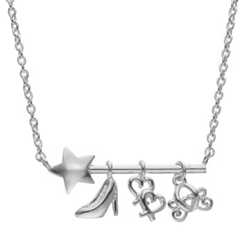 Disney's Cinderella Sterling Silver Wand, Slipper, Carriage and Heart Charm Necklace