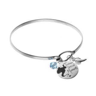 Disney's Aladdin Sterling Silver Genie Charm Bangle Bracelet - Made with Swarovski Crystals