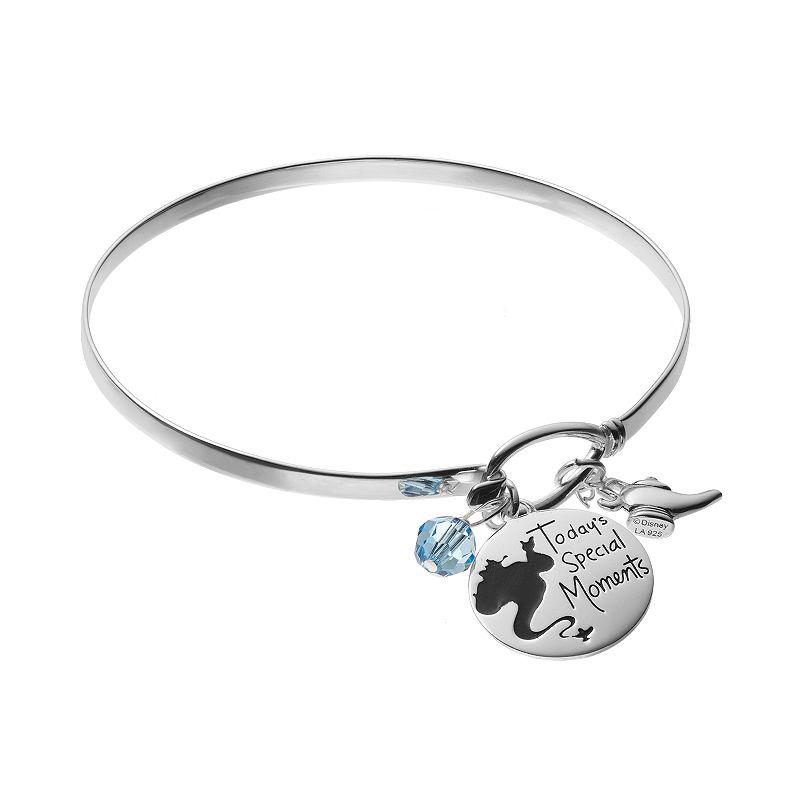 Disney's Aladdin Sterling Silver Genie Charm Bangle Bracelet - Made with Swarovski Crystals, Women's, Blue