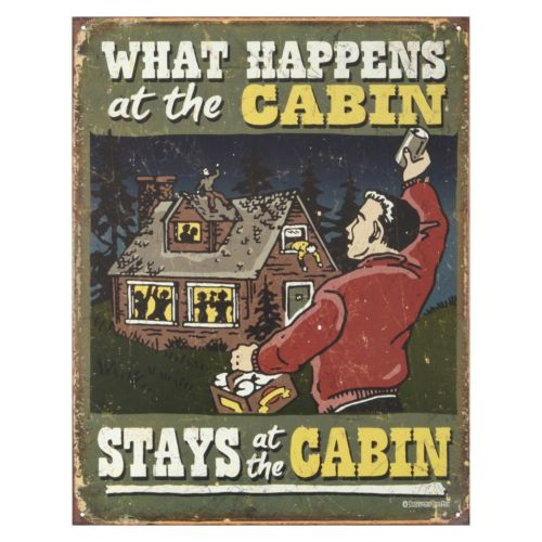 What Happens At The Cabin Vintage Metal Wall Decor