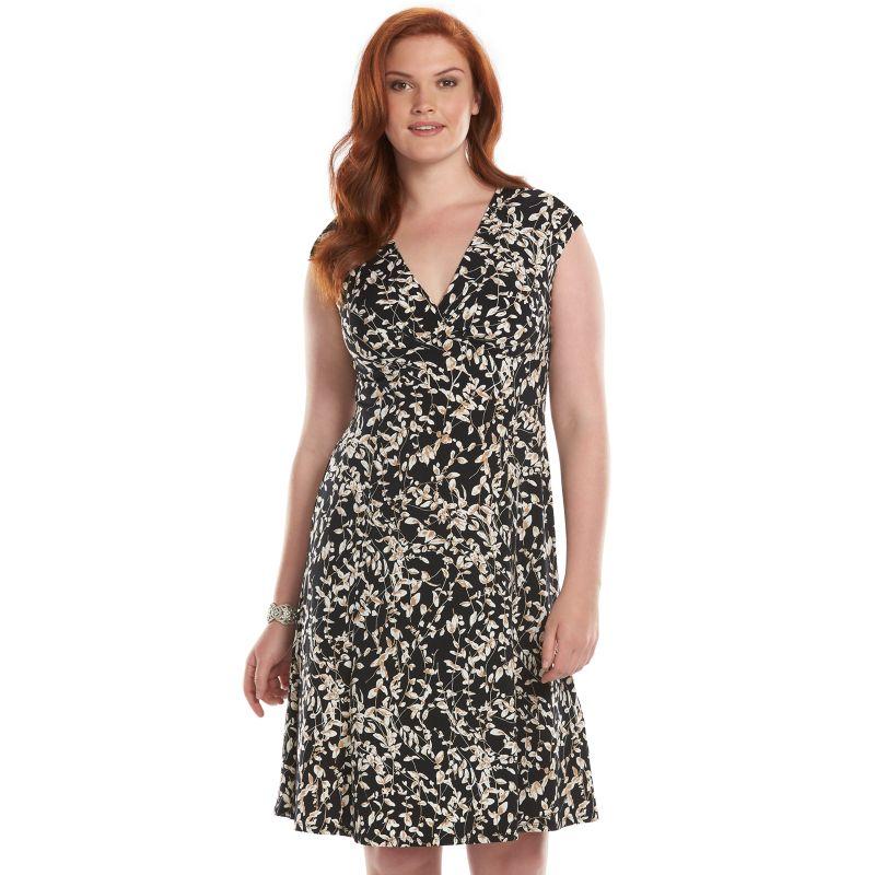 Chaps Leaf Surplice Shift Dress - Women's Plus Size, Size: 16 W (Black)