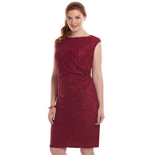cce46d9df2ddd Plus Size Chaps Pleated Lace Sheath Dress