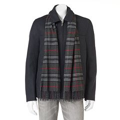 Men's Dockers Wool-Blend Open-Bottom Jacket With Scarf