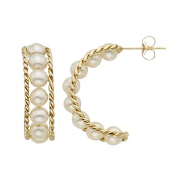 Freshwater Cultured Pearl 14k Gold Semi-Hoop Earrings