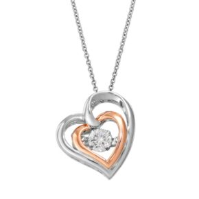 Floating DiamonLuxe 9/10 Carat T.W. Simulated Diamond Two Tone Sterling Silver Double Heart Pendant Necklace