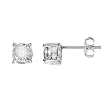 1/2 Carat T.W. Diamond 10k White Gold Stud Earrings