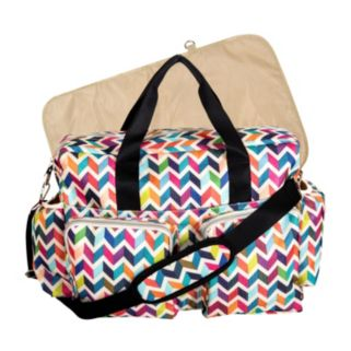 Trend Lab Deluxe French Bull Chevron Duffle Diaper Bag