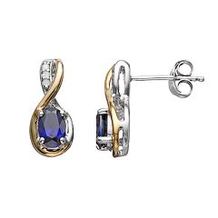 Lab-Created Sapphire & Diamond Accent Sterling Silver & 10k Gold Over Silver Teardrop Earrings