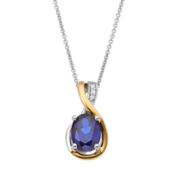 Sterling Silver Two Tone Lab-Created Sapphire Teardrop Pendant