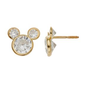 Disney's Mickey Mouse Cubic Zirconia 14k Gold Stud Earrings
