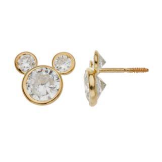 Disney's Mickey Mouse Cubic Zirconia 14k Gold Stud Earrings
