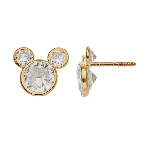 2953377312bc7 Disney's Mickey Mouse Cubic Zirconia 14k Gold Stud Earrings