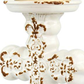 Stonebriar Collection Cross Pillar Candleholder