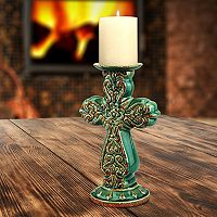 Stonebriar Collection Cross Blue Pillar Candleholder