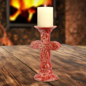 Stonebriar Collection Cross Red Pillar Candleholder