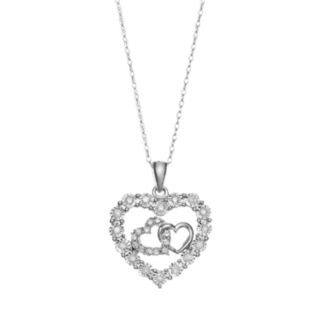 1/4 Carat T.W. Diamond 10k White Gold Triple Heart Pendant Necklace