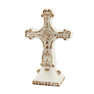 Stonebriar Collection Distressed Cross Pedestal Decor