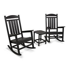 POLYWOOD® 3 pc Presidential Outdoor Rocking Chair & Square Side Table Set