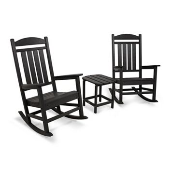 POLYWOOD® 3-piece Presidential Outdoor Rocking Chair & Square Side Table Set